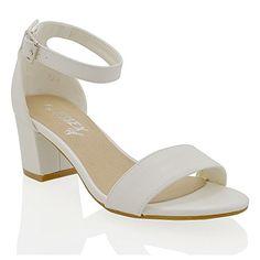ESSEX GLAM Niedrige absatz mit schnallen weiß kunstleder leder sandalen EU  37 - Sandalen für frauen ddc4e83bd0