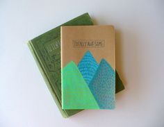 moleskine notebook  totally awesome journal hand by MessyBedStudio, $12.00