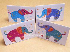 Four Elephants folded gift tags pack of 4 peel-off by Ellareki