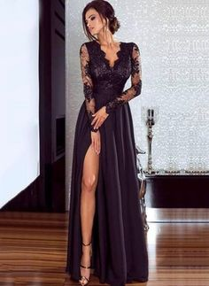 Women Lace Evening Party Prom Gown Ladies Formal Empire Waist Long Dress Solid V-Neck Long Sleeve Floor-Length Maxi Dresses Split Prom Dresses, Prom Dresses With Sleeves, Lace Evening Dresses, Lace Dress With Sleeves, Dress Lace, Evening Gowns, Sexy Maxi Dress, Maxi Dresses, Dress Prom