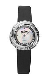 Skagen Leather Strap Womens Silver Tone Dress Watch