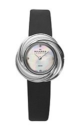 Skagen Leather Strap Womens Silver Tone Dress Watch