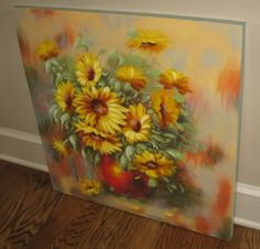 LARGE Canvas SUNFLOWER Wall Picture Hand PAINTING*Primitive/French Country Decor