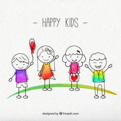 Pack de bocetos de niños felices  Vector Gratis