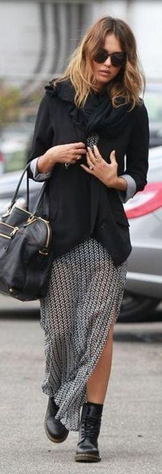 Jessica Alba: Sunglasses – House of Harlow  Shoes – Dr. Martens  Purse – Chloe