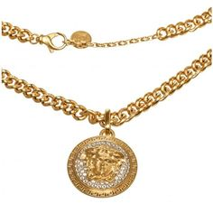 Pre-owned Versace Gold Medusa Medallion Necklace ($795) ❤ liked on Polyvore featuring jewelry, necklaces, versace necklace, versace, versace medallion, preowned jewelry and medallion jewelry