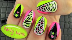 Party Nails! Nail Art full of neon colors, animal prints and geometric lines. Not that hard to achieve with a help of a nail art tape, dotting tools, sponge, toothpick and nail polish brush. In this nail tutorial I show how to combine sharp geometric shapes with softer zebra and leopard prints.