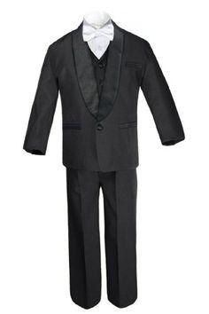 12 6pc Boys Black Suits Tuxedo Satin Fuchsia Pink Necktie Vest Set Baby Teen