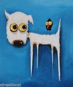 Original Acrylic Canvas Fine Art Whimsical White Puppy Dog Black Bird Crow   eBay