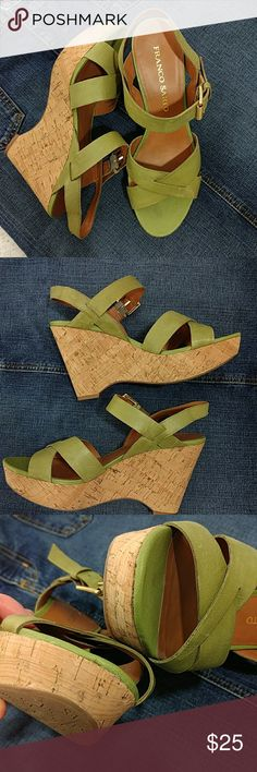 """Franco Sarto olive green wedges Cute wedges in a great color!  GUC.   4"""" high Leather upper  Smoke-free and pet friendly home. Franco Sarto Shoes Wedges"""