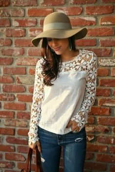 Cool Summer White Lace Shirt Bordered in Floral Design With Hollywood Style Hat.