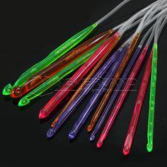 1 Set 12 Tamaños de plástico flexible afgana de Túnez ganchillo del gancho del envío de la armadura Conjunto de punto Agujas gratuito