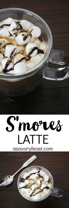 Make this beautiful yet simple S'mores Latte at home! Start with instant coffee and add in a few ingredients to make this coffee house drink at home. Ready in under 5 minutes!