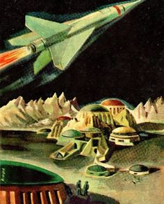 Vintage Sci-fi Art in Outer Space Themes of Space colony, spaceships, astronauts in 1950's, by Artist Armand Cabrera, Via SciFiction.com