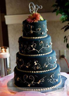 Autumn wedding cake - instead make taupe background, green swirls orange flowers?
