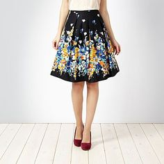 Black fit and flare floral skirt - Knee length skirts - Skirts - Women -