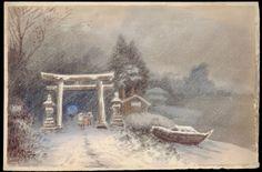 Tosuke S (watercolour artist) - Shrine Entrance in a Snowstorm