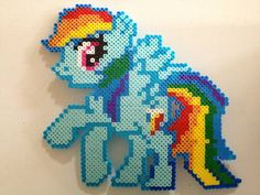 Rainbow Dash Giant Perler Bead Magnet - MISCELLANEOUS TOPICS