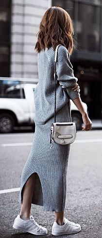 I love this look...too bad I'm not tall. Long grey sweater maxi dress with white sneakers.