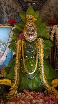 Laxmi pooja Tulasi Plant, Gauri Decoration, Ganesh Chaturthi Decoration, Silver Pooja Items, Ganapati Decoration, Pooja Room Door Design, Flower Rangoli, Puja Room, Hindu Festivals