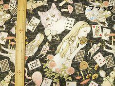 1 yard Alice in wonderland fabric black color by HanamiBoutique, $17.20