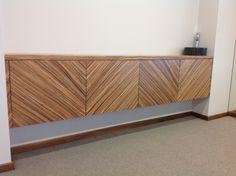 Handmade Zebrano cabinet with push to open doors