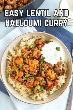 Lentil and halloumi curry - this is really straightforward to make, and absolutely full of flavour. Halloumi curry is a revelation! Lentil Recipes, Curry Recipes, Veggie Recipes, Indian Food Recipes, Cooking Recipes, Healthy Recipes, Veggie Meals, Diet, Zucchini