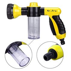 Garden Hose Nozzle  MrPro Hand Spray Nozzle Heavy Duty High Pressure 8 Adjustable Patterns Watering Nozzle Sprayer Gun Best for Watering Plants  Lawn  Patio Car Wash Showering Pets Yellow >>> Visit the image link more details.