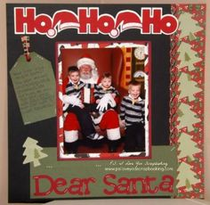 Baby Scrapbook Ideas - Here's a great Christmas Scrapbook Layout that could be for a baby or older kids. It uses die cuts, patterned papers, and tag. Would be awesome for a Baby's First Christmas Scrapbook Page
