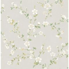 A-Street 56 sq. ft. Delphine White Floral Trail Wallpaper-2657-22251 - The Home Depot