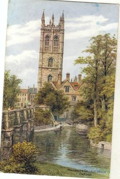 Oxford - Magdalen College & River - Salmon/ A R Quinton post card 1942 in Collectables, Postcards, Topographical: British, England, Oxfordshire | eBay