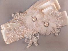 Champagne Blush and Gold Bridal Sash Belt With Fabric Flowers, Swarovski crystals, and Lace Applique - Lace Bridal Sash Embroidery Flowers Pattern, Lace Applique, Flower Patterns, Hand Embroidery, Bridal Sash Belt, Bridal Lace, Chiffon Flowers, Fabric Flowers, Strass Vintage