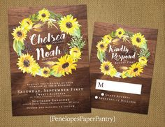 Penelopes PaperPantry is proud to present our collection of rustic inspired Fall wedding invitations with an optional matching RSVP. The