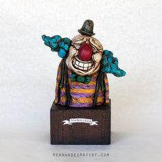 Nowhere Clown - Handmade Sculpture, Polymer Clay, Wood - Sale