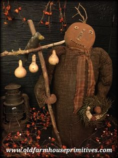 """#RS12 Primitive Pumpkin Head Doll """"Silas"""" With Gourd Tree With Crow (Made In USA)"""