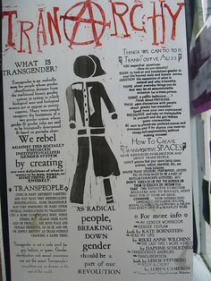 """gender-queer: """" [Poster with red TRANARCHY, the A an anarchy symbol, stamped across the top. Transgender, Genderqueer, Crossdressers, Equality, Feminism, Lgbt, Lesbian, How To Plan, Trans Rights"""