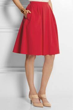 An item for my Fantasy Closet: Michael Kors | Stretch-cotton poplin skirt | NET-A-PORTER.COM