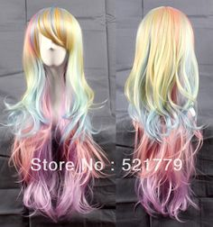 "Notebook wig, don't hug me i'm scared dhmis New 80cm 32"" Big Wavy  Rainbow Lolita cosplay wig-in Wigs from Beauty & Health on Aliexpress.com"