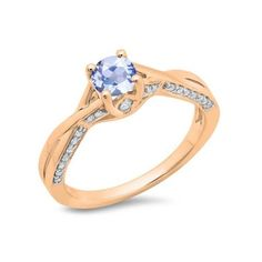 0.75 Carat (ctw) 14K Rose Gold Round Cut Tanzanite & White Diamond... ($389) ❤ liked on Polyvore featuring jewelry, rings, rose, rose ring, swirl engagement rings, tanzanite ring, rose engagement ring and round engagement rings