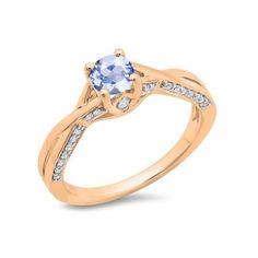 0.75 Carat (ctw) 14K Rose Gold Round Cut Tanzanite & White Diamond... ($389) ❤ liked on Polyvore featuring jewelry, rings, rose, tanzanite engagement rings, tanzanite ring, swirl engagement rings, solitaire engagement rings and engagement rings