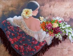 """picture """"The beautiful Spanish"""",  Silk ribbon embroidery, silk, flowers, gift…"""