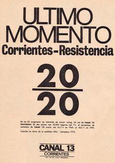 Publicidad de CANAL 13, Corrientes, 1970.