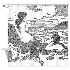 Latimer J Wilson Mermaids Shower Curtain on CafePress.com