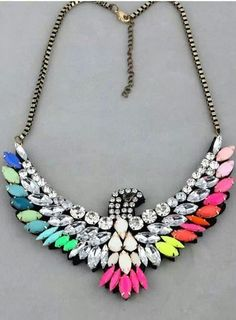 bd54fbbcce36fc Fashion Chic Style Colorful Gem and Rhinestone Decorated Eagle Shape  Necklace (AS THE PICTURE)