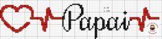 Dia dos pais ponto cruz, papai Kraken, Hama Beads, Crochet Stitches, Plastic Canvas, Cross Stitch, Clip Art, Embroidery, Cross Stitch Font, Cross Stitch Letters