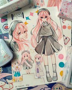 Anime Drawings Sketches, Anime Sketch, Kawaii Drawings, Colorful Drawings, Cute Drawings, Cartoon Drawings, Cute Art Styles, Cartoon Art Styles, Art Anime