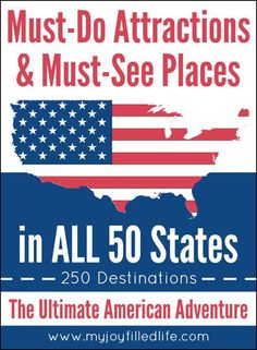 Must-Do Attractions & Must-See Places in ALL 50 States - My Joy-Filled Life If you are planning a trip or vacation in the United States, check out this HUGE list of 250 things you must see in the 50 states. Florida Keys, Travel Usa, Travel Tips, Travel Ideas, Travel Logo, Paris Travel, Travel Goals, Travel Hacks, Business Travel
