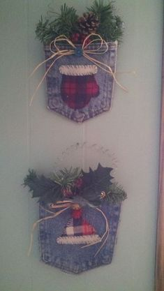 Cute and very simple winter craft idea. I cut out a denim pocket from an old pair of jeans, and a hat and a mitten from an old flannel s. Cowboy Christmas, Noel Christmas, Homemade Christmas, Rustic Christmas, Christmas Sewing, Christmas Projects, Holiday Crafts, Diy Christmas Ornaments, Christmas Stockings
