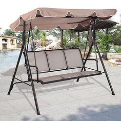 luxury 3 seater  swinging garden hammock swing  chair  outdoor bench seat lounger garden treasures 3 seat steel traditional cushion hammock swing      rh   pinterest