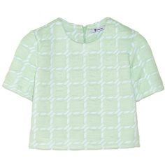 T by Alexander Wang Cropped neoprene-backed jersey top ($101) ❤ liked on Polyvore featuring tops, shirts, crop tops, clothes - tops, mint, loose crop top, green crop top, neoprene shirt, jersey crop top and crop shirt